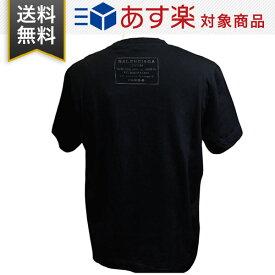 バレンシアガ Tシャツ メンズ BALENCIAGA 496053 TXK46 1000 クルーネック 丸首 コットン ブラック
