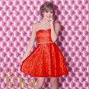 【max88%off】ゆんころ ドレス着用 Tika ティカ ウエストリボン×パールラインジャガードフレアミニドレス レッド(Sサイズ/Mサイズ/Lサイズ/XLサイズ)