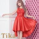 キャバ ドレス 盛りドレス キャバドレス キャバ嬢 キャバクラ ゆんころ ドレス着用 Tika ティカ 花柄刺繍×オーガンジーロングテールドレス (レッド) (Mサイズ)キャバドレス ドレス キャバ セール
