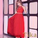 【max89%off セール 】ゆんころ ドレス着用 Tika ティカ 胸元透け刺繍レースホルターネックロングドレス レッド (Mサ…