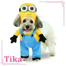 【早割10%OFF】ペットコスチューム Tika ティカ 2点set ミニオン ボブ ドッグコスチューム (XSサイズ/Sサイズ/Mサイズ) (ウェア+ヘッドピース) 中型犬