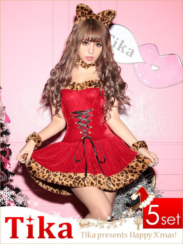 サンタ 衣装 5set レオパードデザインサンタコスチュームセット (レッド)(Mサイズ)