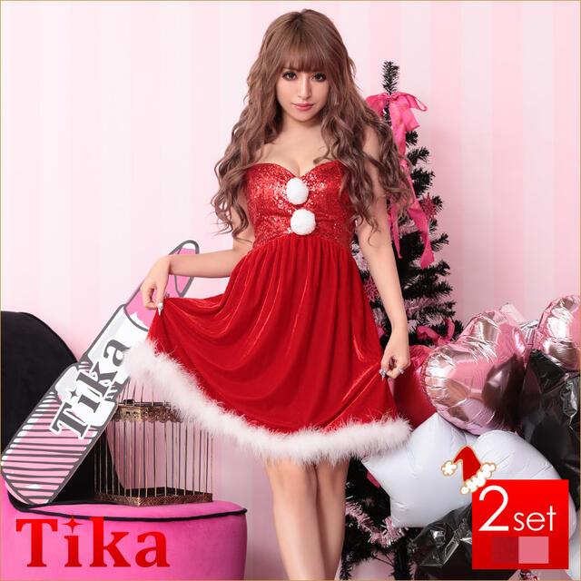 サンタ 衣装 2set スパンコールベアデザインサンタコスチュームセット (レッド/ピンク)