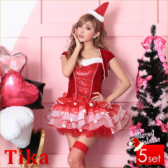 サンタ 衣装 5set スパンコールデザインバイカラーサンタコスチュームセット (レッド)(Mサイズ)