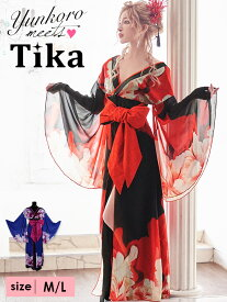 【送料無料】 Tika ティカ 花柄和テイストロングドレス (ブラック×レッド/ブラック×ネイビー) (Mサイズ/Lサイズ) 大きいサイズ キャバ キャバドレス キャバ嬢 キャバクラ ロングドレス ロング 和 和風 演奏会 二次会 結婚式 夜 ドレス 通販