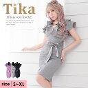 【50%offクーポン配布】【あす楽 送料無料】Tika ティカ フリル タイト ミニドレス S〜XLサイズ 2L 大きいサイズ キャ…