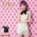 【50%offクーポン配布】【あす楽 送料無料】Tika ティカ ネックリボン レース タイト ミニドレス XL 2L 大きいサイズ …