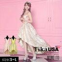 【あす楽 送料無料】Tika USA L.Aインポートドレス 伊藤桃々 花柄 ロングテール ドレス S M L 大きいサイズ キャバ キ…
