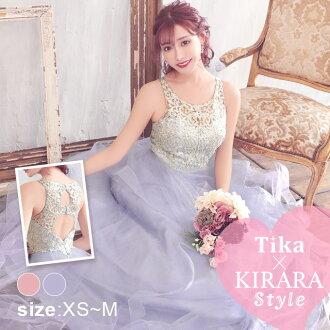 The サイズキャバキャバドレスキャバクラロングワンピースセクシーロング length maxi length that flower Kirara embroidery ビジューエレガントボリュームロングドレスダスティピンクパープル XS S M has a big Tika USA L.A import dress tomorrow