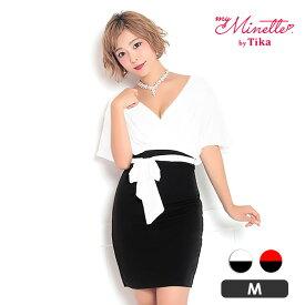 【max88%off】【あす楽】Tika holic ティカ ホリック カシュクール ウエスト リボン バイカラー タイト ミニドレス ホワイト ブラック レッド M 大きいサイズ キャバ キャバドレス キャバ嬢 キャバクラ ミニ ドレス キャバワンピ セクシー 膝丈 袖あり シンプル
