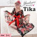 【全品半額 セール 】【送料無料】 ゆんころ ドレス着用 Tika ティカ 華麗和テイストロングドレス ブラック レッド M …