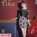 【最大80%off セール 】Tika ティカ フラワー レース 切り替え グレンチェック タイト ミニドレス ブラック グレー S M L XL 大きいサイズ キャバ 大人 キャバドレス キャバ嬢