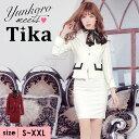 【あす楽】Tika ティカ スカーフ ネック 刺繍 レース タイトワンピース ジャケット セットアップ スーツ ホワイト ワインレッド S-XXL 大きいサイズ キャバ キャバ嬢 キャバクラ キャバス