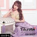 【50%offクーポン配布】【あす楽 送料無料】Tika USA L.A インポートドレス シースルー スパンコール バイカラー フレ…