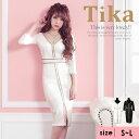 あす楽 Tika ティカ Vネック ライン タイト スリット ミディアムドレス ホワイト ブラック S M L 大きいサイズ キャバ 大人 キャバドレス キャバクラ ドレス ミニドレス ドレス タイト