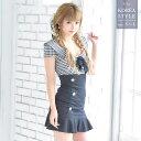 あす楽 Tika ティカ セーラーカラー ブロックチェック リボン 裾フリル タイト ミニドレス ブラック 黒 S M L 大きいサイズ ドレス キャバ 大人 キャバドレス マーメイド キャバ嬢 キャ