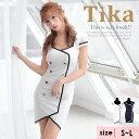 【最大90%off セール 】 大人 キャバドレス 大きいサイズ モノトーン パイピング ダブルボタン ミニドレス 韓国 ティカ ドレス キャバ ドレス ワンピース ホワイト ネイビー 白 紺 キャバ
