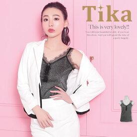 Tika ティカ スカラップレースラメキャミソール (ブラック) (Mサイズ)