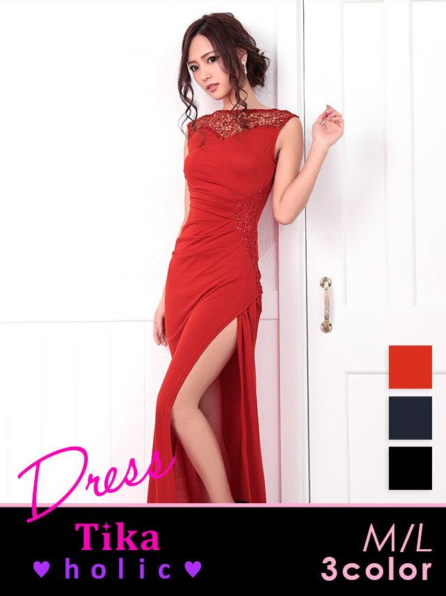 【あす楽】Tikaholic ティカホリック レース×スパンコールデザインロングドレス (ブラック/ネイビー/レッド) (Mサイズ/Lサイズ)
