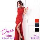【あす楽】Tikaholic ティカホリック レース×スパンコールデザインロングドレス (ブラック/ネイビー/レッド) (Mサイ…