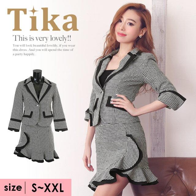【あす楽】Tika ティカ 千鳥格子柄裾フレアスカートツーピーススーツ (ブラック/ホワイト) (Sサイズ/Mサイズ/Lサイズ/XLサイズ/XXLサイズ)