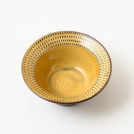 小石原焼太田哲三窯 フチ有り四寸鉢 飛び鉋 黄