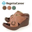 RegettaCanoe -リゲッタカヌー- CJBG-9100 厚底 ウェッジヒール 履きやすい 歩きやすい ステッチデザイン サンダル レディース つっかけ ブロッジヒール