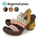 RegettaCanoe -リゲッタカヌー- CJCO-5800 巻きヒール カラフル 麻 帆布 サンダル 履きやすい 歩きやすい バックベルト レディース カラムヒール