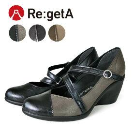 Re:getA -リゲッタ-R-1976 アーモンドトゥパンプス(7cmヒール)パンプス 黒