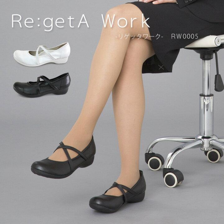 Re:getA Work -リゲッタワーク-RW-0005 クロスベルトローヒールパンプス-