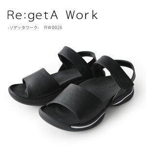 Re:getA Work -リゲッタワーク-リニューアルRW-0026 甲ベルト付きローヒールサンダル/オフィスサンダル