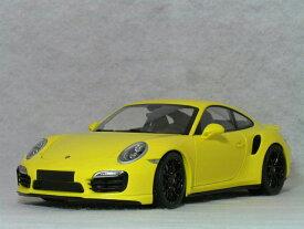 ミニチャンプス ミニカー 1/18 スケールポルシェ 911 ( 991 ) ターボ S イエロー ( ブラック ホィール )