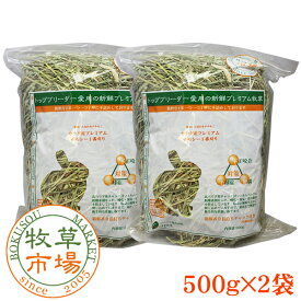 牧草市場 カナダ産プレミアムチモシー1番刈り牧草1kg(500g×2パック)