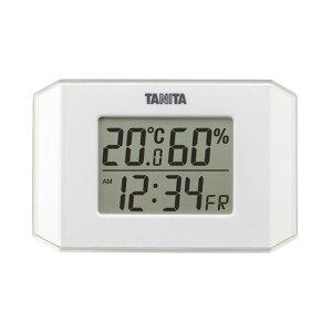 温度計 湿度計 温湿度計 デジタル時計 カレンダー 置き時計 卓上 おしゃれ コンパクト ホワイト 送料無料 TANITA タニタ TT-574/WH