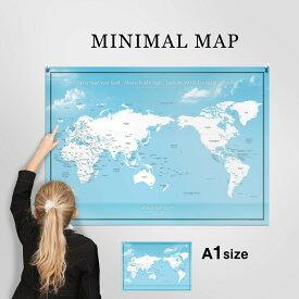 世界地図 A1 ブルー 空と海 ポスター インテリア おしゃれ 国名 白地図 こども ミニマルマップ Zoom背景 テレワーク オンライン 040 cpy