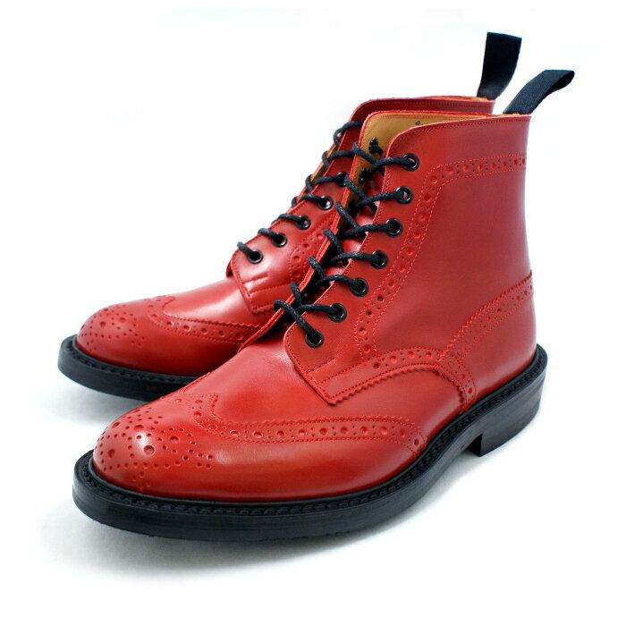●● 正規品 トリッカーズ カントリーブーツ ブーツ ウィングチップTricker's MALTON (モルトン) M2508 レッド ダイナイトソール fitting5 BOOTS 紳士靴 ウイングチップブーツ メンズ 送料無料【あす楽対応】