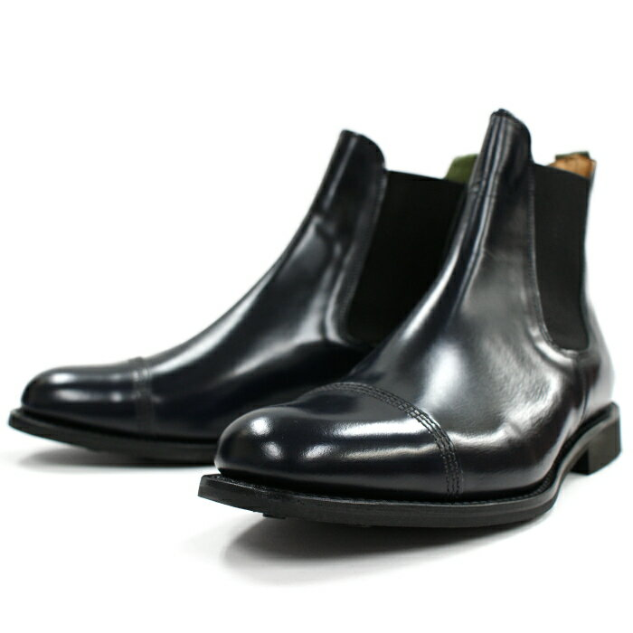 サンダース 靴 ミリタリーダービー SANDERS 1140 CAP TOE CHELSEA BOOTS 【ネイビー】 チェルシーブーツ サイドゴア ブーツ ビジネスブーツ メンズ 送料無料 2015FW 【あす楽対応】
