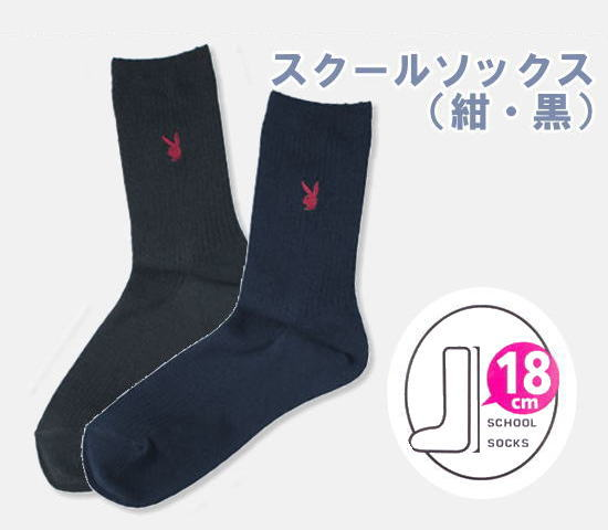 【ネコポスOK】PLAYBOY プレイボーイ スクールソックス(紺・黒) 18cm丈 23〜25cm 靴下