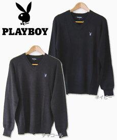 PLAYBOY メンズセーター スクールセーター(ウール混)/Vネックセーター/プレイボーイ/制服/カジュアル