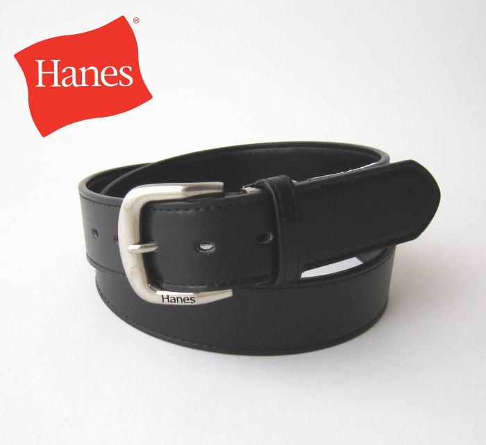 Hanes ヘインズ メンズベルト 4cm幅 ビジネス・スクール/定番/学生/制服ベルト/ブラック