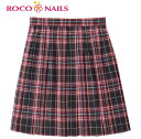 ROCO NAILS ロコネイル スクールスカート 46cm丈/チェックスカート/女子制服/女子高生/ROCONAILS/レッドチェック/赤チェック