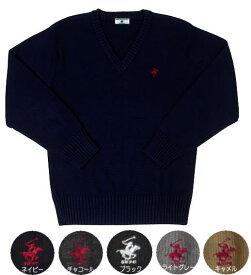セーター ウール混・5色男女兼用(ワンポイント刺繍あり)ビバリーヒルズポロクラブ