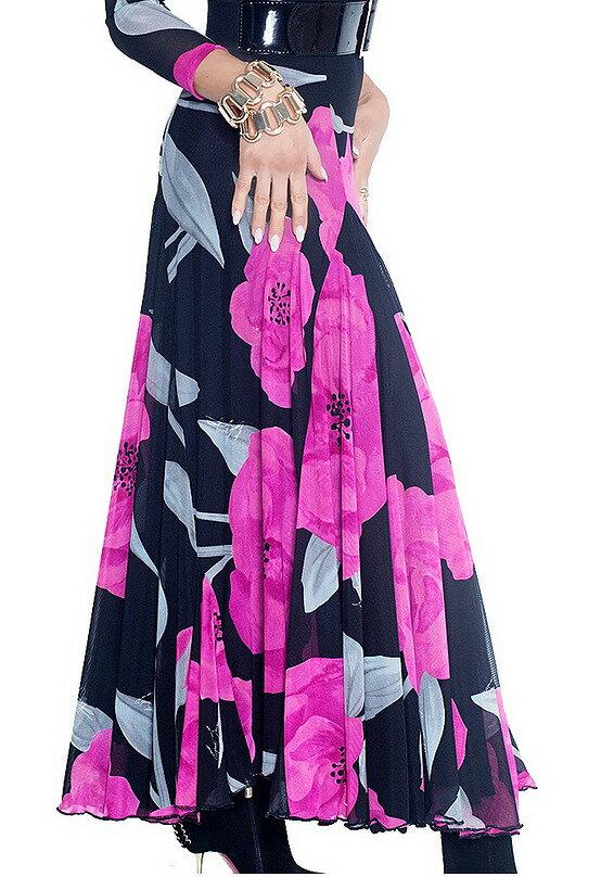 12月上旬入荷予定 社交ダンス スカート ロングスカート モダン スタンダード レッスン パーティー 花柄 高級 衣装