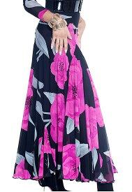 【即納商品】社交ダンス スカート ロングスカート モダン スタンダード レッスン パーティー 花柄 高級 衣装