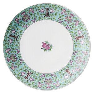 緑彩宝華 8.0皿 中華食器 丸皿 20cm〜30cm 業務用 日本製 磁器 約24.5cm 単品メニュー用 定食用皿 中華皿 プレート 盛皿 エビチリ 酢豚 中国料理