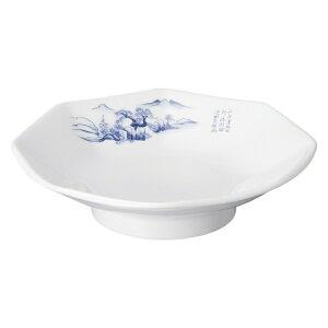 上絵山水 八角高台皿 中華食器 八角皿 業務用 日本製 磁器 約19.3cm チャーハン シュウマイ シューマイ 中華皿 プレート レトロモダン