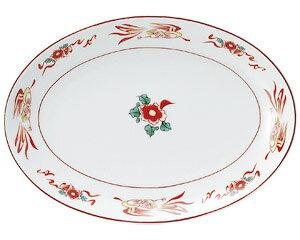 花鳥 9吋プラター 中華食器 プラター 楕円皿 20cm〜30cm 業務用 日本製 磁器 約24.3cm 中華皿 餃子皿 ギョーザ皿 餃子用 楕円プレート 小判皿 オーバル
