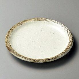 渕錆粉引大皿 和食器 丸皿(中) 業務用 約24.5cm 和食 和風 中皿 主菜 定食