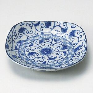 藍彩四角5.0皿 和食器 フルーツ皿・銘々皿・取皿 業務用 約15.2cm 和食 和風 プレート フルーツ デザート 和菓子 甘味 ケーキ 和テイスト 定番 取り皿