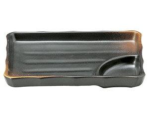 焼締 7.0寸長角仕切皿 和食器 仕切付焼物皿 業務用 約19cm 和食 和風 焼肉店 ポテトフライ ダイニング チーズフライ だし巻き玉子 寿司 刺身